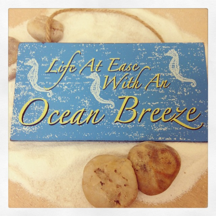 £2 Life At Ease With An Ocean Breeze Hanging Wooden  Sign